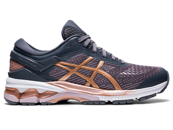 ASICS Women's Gel-Kayano 26 Road Running Shoes-Metropolis/Rose Gold
