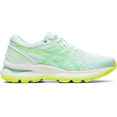 ASICS Women's Gel-Nimbus 22 Road Running Shoes-Mint Tint/Safety Yellow