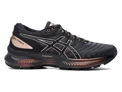 ASICS Women's Gel-Nimbus 22 Platinum Road Running Shoes-Black/Rose Gold