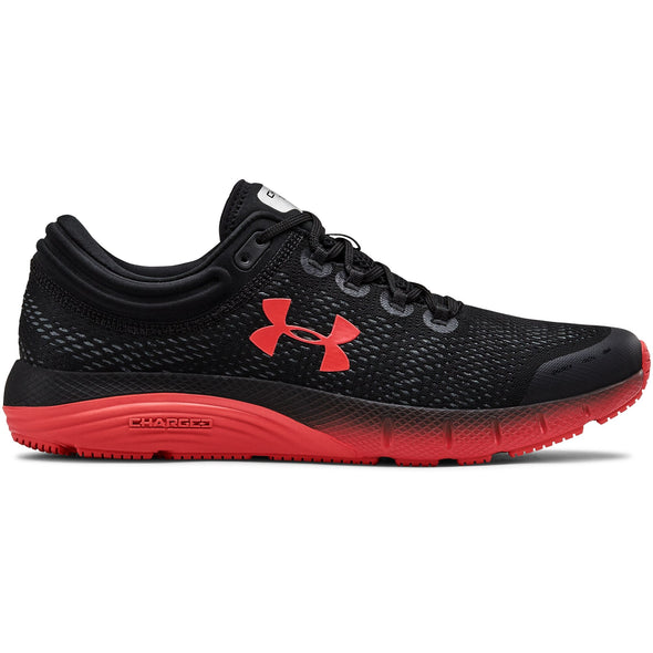 MENS UNDER ARMOUR CHARGED BANDIT 5-Black/Martian Red/Martian Red