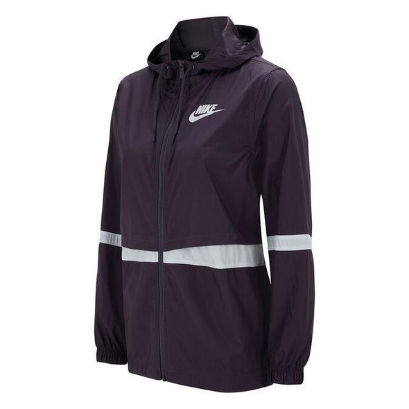 Nike Women's NSW RPL Woven Jacket- Dark Raisin/White/Dark Raisin/White