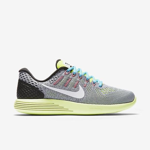 Nike Women's Lunarglide 8 Road Running Shoes-Wolf Grey/White/Volt/Gamma Blue