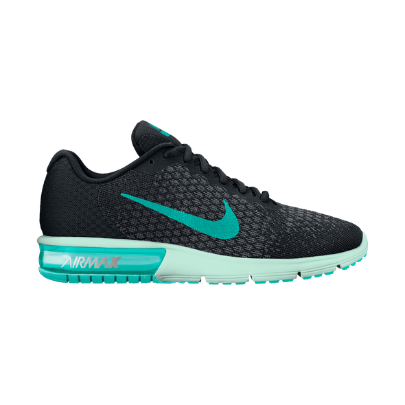 Nike Women's Air Max Sequent 2 Road Athleisure Shoes-Black/Clear Jade/Anthracite/Cool Grey