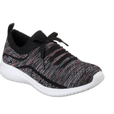 Skechers Women's Ultra Flex-Statements Road Walking Shoes-Black/Multi