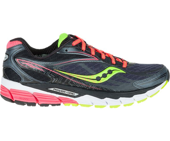 Saucony Women's Ride 8 Road Running Shoes-Midnight/Coral/Citron