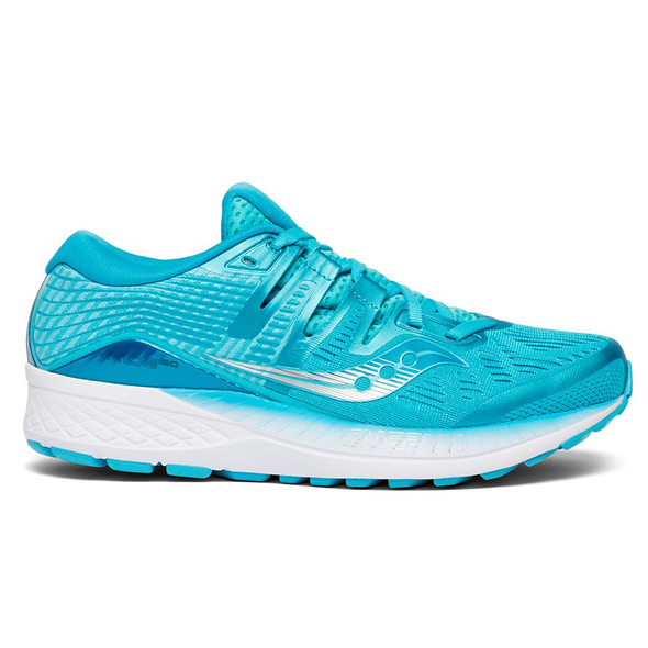 Saucony Women's Ride ISO Road Running Shoes-Sky Blue/White
