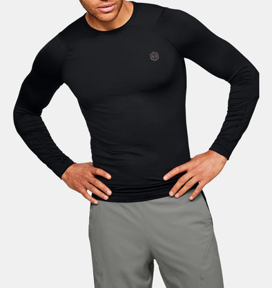 Under Armour Men's Rush Heat Gear Compression Long Sleeve-Black