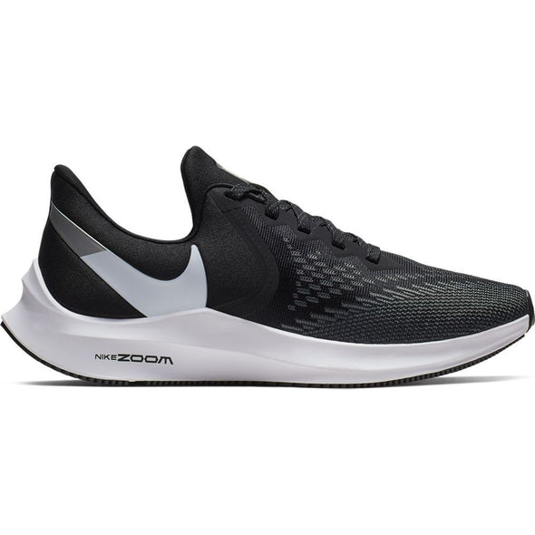 Women's Nike Air Zoom Winflo 6- black/white-dark grey-metallic platinum