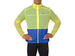 Asics Men's Packable Jacket - Lemon Spark Illusion Blue