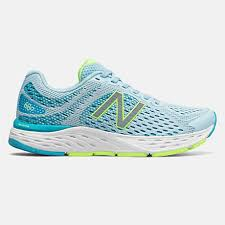 New Balance Women's 680 'D'' Wide Fit Road Running Shoes-Grey/Blue