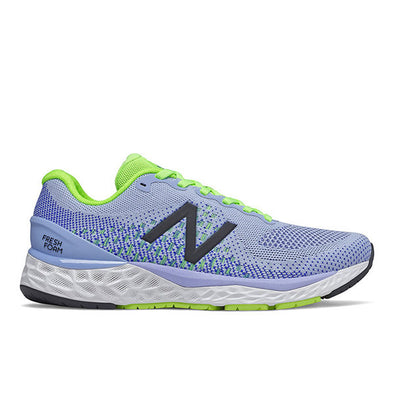New Balance Women's 880  (D) V10 Road Running Shoes- Frost/Cobalt/Lime Glo