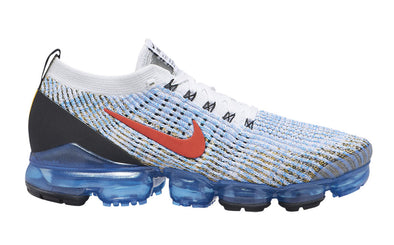 Nike Men's Vapormax Flyknit 3 Road Casual Shoes-White/Habanero Red-University Gold-Photo Blue