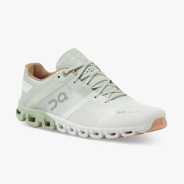 ON Women's Cloudflow 2 Road Running Shoes-Aloe/White