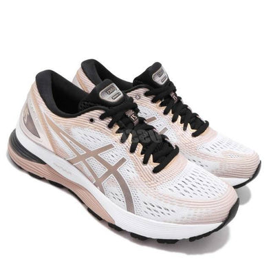 ASICS Women's Gel-Nimbus 21 Platinum Road Running Shoes-White/Frosted Almond