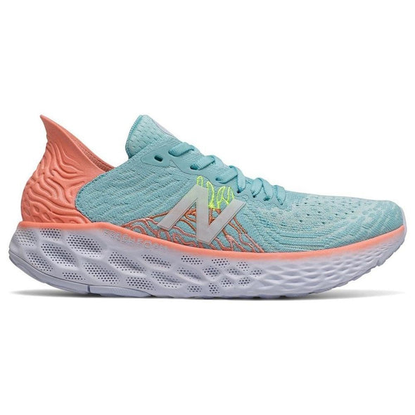 New Balance Women's 1080v10 (D) Wide Fit Road Running Shoes-Bali Blue/Ginger Pink/Lemon Slush