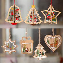 Load image into Gallery viewer, 1PC 2D 3D Christmas Ornament Wooden Hanging Pendants Star Xmas Tree Bell Christmas Decorations For Home Party New Year Navidad