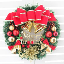 Load image into Gallery viewer, Christmas Wreath With Battery Powered LED Light String Front Door Hanging Garland Holiday Home Decorations