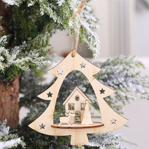 1PC 2D 3D Christmas Ornament Wooden Hanging Pendants Star Xmas Tree Bell Christmas Decorations For Home Party New Year Navidad