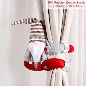 QIFU Christmas Curtain Buckle Merry Christmas Decorations for Home Santa Claus Snowman Elk Gifts Noel Navidad 2020 New Year 2021