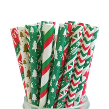 Load image into Gallery viewer, 25pcs Christmas Paper Straws Snowflake Xmas Tree Paper Drinking Straw Merry Christmas Table Decorations for Home Xmas Party Deco