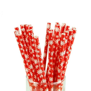 25pcs Christmas Paper Straws Snowflake Xmas Tree Paper Drinking Straw Merry Christmas Table Decorations for Home Xmas Party Deco
