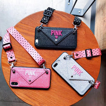 Load image into Gallery viewer, Just Pink Collection - PINK Glitter Embroidery iPhone Lanyard Case - Beautiful In Pink Collection