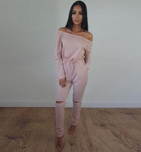 Just Pink Collection - Women's Long-sleeved Strapless Jumpsuit - Beautiful In Pink Collection