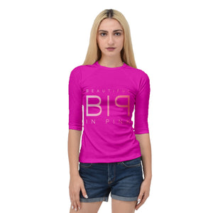 Beautiful In Pink Collection Women's Quarter Sleeve Raglan Tee (Pink) - Beautiful In Pink Collection