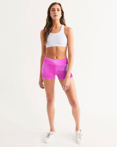 Beautiful In Pink Collection Dye Fade Women's Mid-Rise Yoga Shorts - Beautiful In Pink Collection