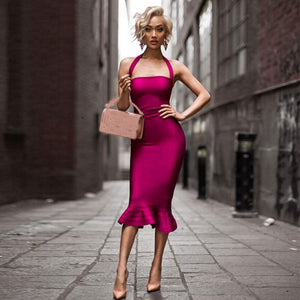 Just Pink Collection - Women's Spaghetti Strap Mermaid Dress - Beautiful In Pink Collection