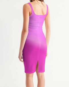 Beautiful In Pink Collection Dye Fade Women's Midi Bodycon Dress - Beautiful In Pink Collection