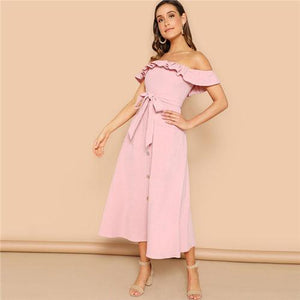 Just Pink Collection - Women's Pink Off the Shoulder Long Dress - Beautiful In Pink Collection