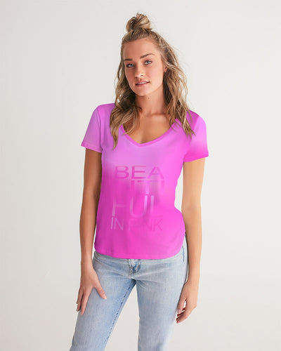 Beautiful In Pink Collection Dye Fade Women's V-Neck Tee - Beautiful In Pink Collection