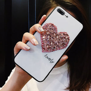 Sale Collection - Glass Glitter and Rhinestone Heart Phone Case For iPhone - Beautiful In Pink Collection