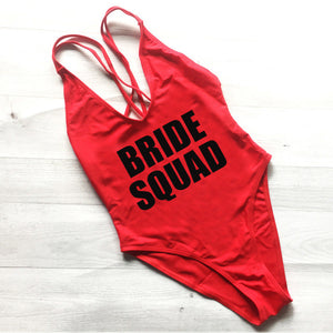Just Pink Collection - Women's BRIDE SQUAD Letter Print One Piece Swimsuit - Beautiful In Pink Collection