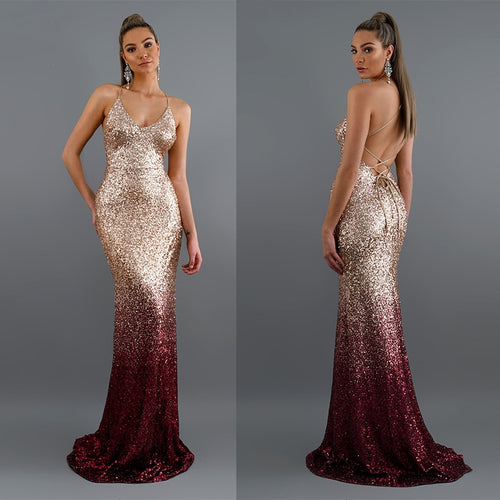Just Pink Collection - Women's Long Sequin Evening Dress - Beautiful In Pink Collection