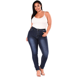 Just Beautiful Collection - Women's High Waist Blue Denim Stretch Pants - Beautiful In Pink Collection