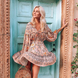 Just Beautiful Collection - Gypsy Floral Print Summer Dress - Beautiful In Pink Collection