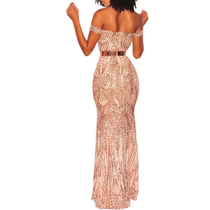 Just Beautiful Collection - Women's Off Shoulder Sequin Formal Dress - Beautiful In Pink Collection
