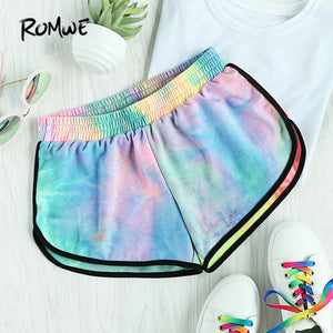 Water Color Shirred Waist Shorts Women Multicolor Tie Dye Casual Shorts Fashion Mid Waist Loose Summer Shorts - Beautiful In Pink Collection