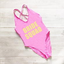 Load image into Gallery viewer, Just Pink Collection - Women's BRIDE SQUAD Letter Print One Piece Swimsuit - Beautiful In Pink Collection