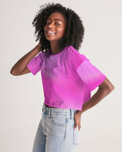 Beautiful In Pink Collection Dye Fade Women's Lounge Cropped Tee - Beautiful In Pink Collection
