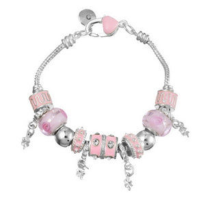 Sale Collection - Silver Charm Bangle for Women With Murano Beads - Beautiful In Pink Collection