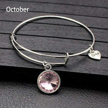 Load image into Gallery viewer, Sale Collection - Adjustable Birthstone Bangle Bracelet For Women - Beautiful In Pink Collection