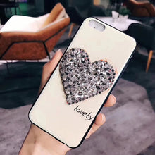 Load image into Gallery viewer, Sale Collection - Glass Glitter and Rhinestone Heart Phone Case For iPhone - Beautiful In Pink Collection