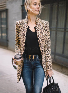 Just Beautiful Collection - Women's Polyester Leopard Casual Suit Coat - Beautiful In Pink Collection