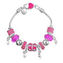 Load image into Gallery viewer, Sale Collection - Silver Charm Bangle for Women With Murano Beads - Beautiful In Pink Collection