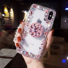 Load image into Gallery viewer, Sale Collection - Love Pink 3D Diamond Bracket Transparent iPhone Case - Beautiful In Pink Collection