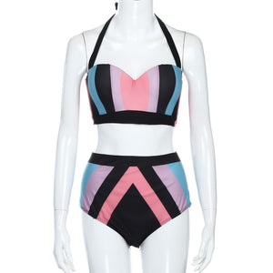 Just Beautiful Collection - Women's High Waist Push-Up Colorful Swimsuit - Beautiful In Pink Collection