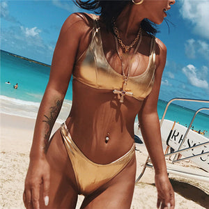 Just Beautiful Collection - Shiny Metallic Scoop Neck Brazilian Bikini - Beautiful In Pink Collection